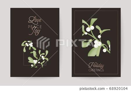 Winter Christmas Floral Mistletoe Greeting Card. Retro Background, Design Template for Holiday Season Celebration 68920104