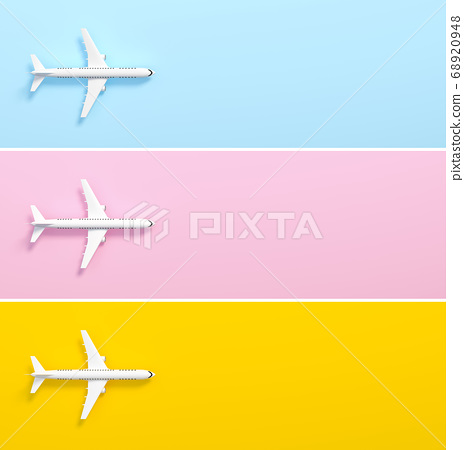 Model plane, airplane on pastel color background set 3d rendering. 3d illustration idea of travel, tourism, transportation and holiday card template minimal concept with space for text. 68920948