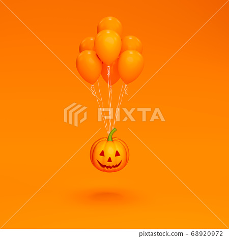 Halloween pumpkin with balloon float on orange background 3d rendering. 3D illustration cute pumpkin for celebration Halloween event template minimal style concept. 68920972