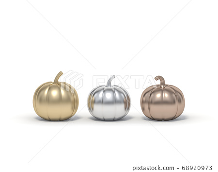 Golden, Silver and Rosegold Halloween pumpkin on white background 3d rendering. 3d illustration pumpkin for celebration luxury Halloween event template minimal style concept. 68920973