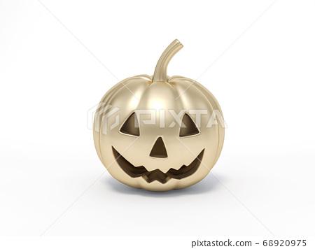 Golden Halloween pumpkin on white background 3d rendering. 3d illustration pumpkin for celebration luxury Halloween event template minimal style concept. 68920975