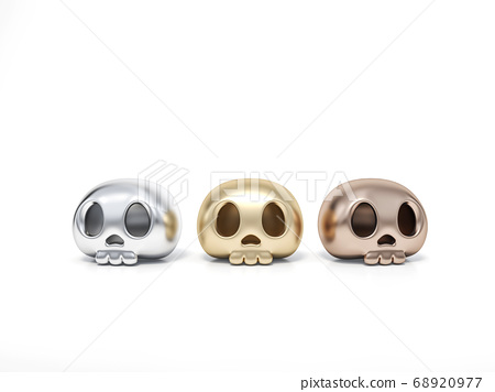 Golden, Silver and Rosegold Halloween human skull on white background 3d rendering. 3d illustration skull for celebration luxury Halloween event template minimal style concept. 68920977