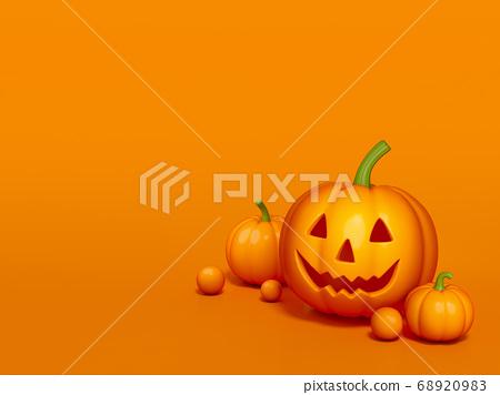 Halloween pumpkin on orange background 3d rendering. 3d illustration pumpkin for celebration Halloween event template minimal style concept. 68920983