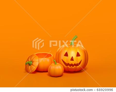 Halloween pumpkin on orange background 3d rendering. 3d illustration pumpkin for celebration Halloween event template minimal style concept. 68920996