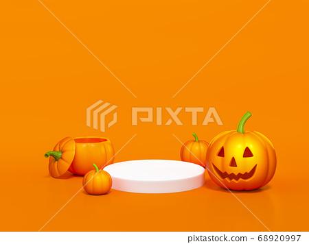 Halloween pumpkin with white podium display stand on orange background 3d rendering. 3d illustration pumpkin for celebration luxury Halloween event template minimal style concept. 68920997