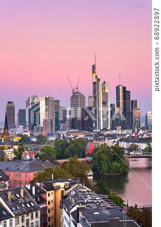 Frankfurt, Germany skyline over the Main River 68922897