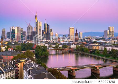 Frankfurt, Germany skyline over the Main River 68922898