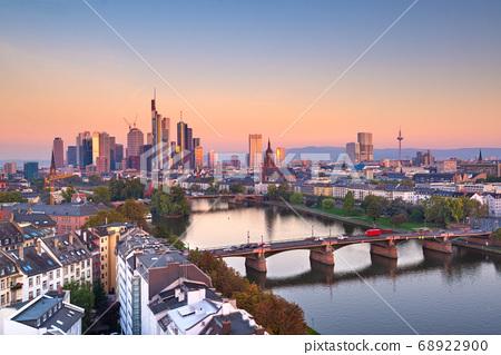 Frankfurt, Germany skyline over the Main River 68922900