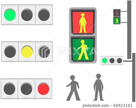 紅色/藍色/黃色交通燈和行人交通燈的插圖集 68923181
