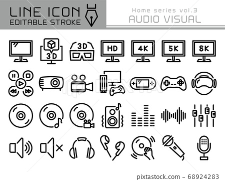 Line Icon Home系列Vol.3 AV設備視頻音頻 68924283