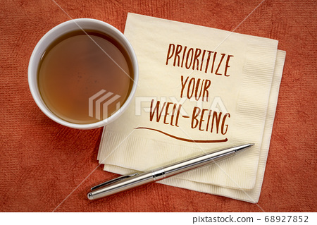 prioritize your well-being inspiraitonal note 68927852