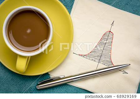 Gaussian (bell) curve on napkin 68929169