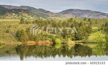 tent camp on a shore of Horsetooth Reservoir 68929183