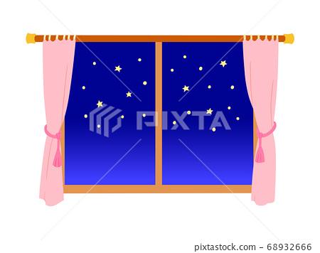 以星空為背景的窗戶(粉紅色的窗簾) 68932666