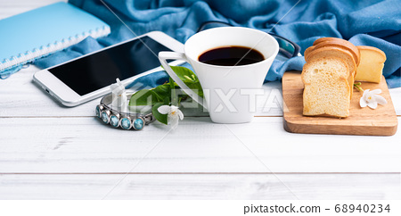 Breakfast set with coffee cup,crispy butter 68940234