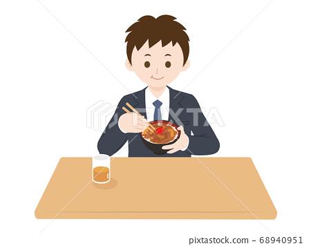 一個男人吃牛肉碗的插圖 68940951