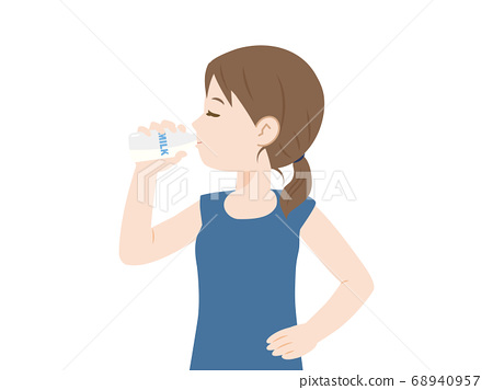 Illustration of a woman drinking milk 68940957