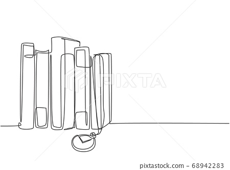 One single line drawing stack of retro old classic books line with pocket analog watch hanging 68942283