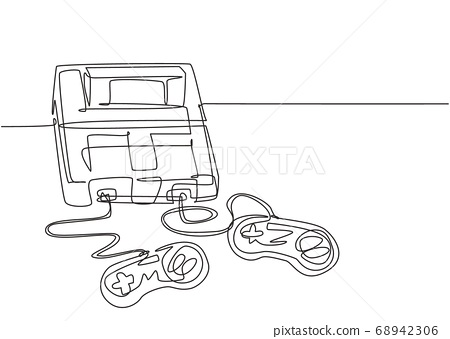 One continuous line drawing of retro old classic arcade video game player with controller 68942306