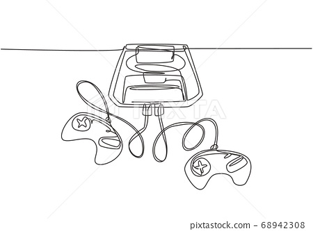 One single line drawing of retro old classic console video game machine 68942308