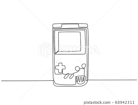 Single continuous line drawing of portable arcade video game watch 68942311