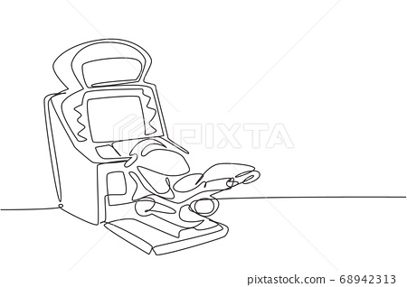 One continuous line drawing of retro old classic motorcycle racing video game machine 68942313