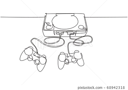 One continuous line drawing of retro old classic arcade video game player with joystick 68942318