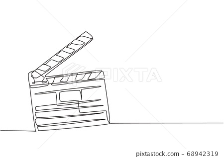One single line drawing of retro old classic movie board clapper 68942319