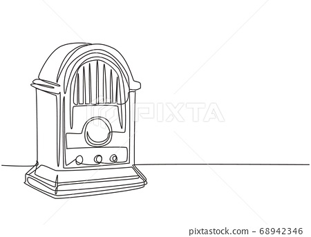 Single continuous line drawing of retro old fashioned analog desk radio 68942346