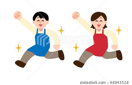 圍裙中奔跑的男人和女人的姿勢(簡單的顏色) 68943528