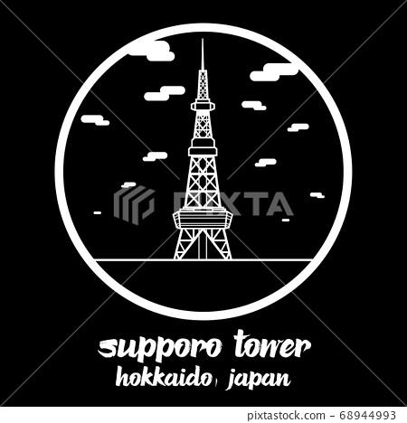 circle icon line sapporo tv tower. vector illustration 68944993