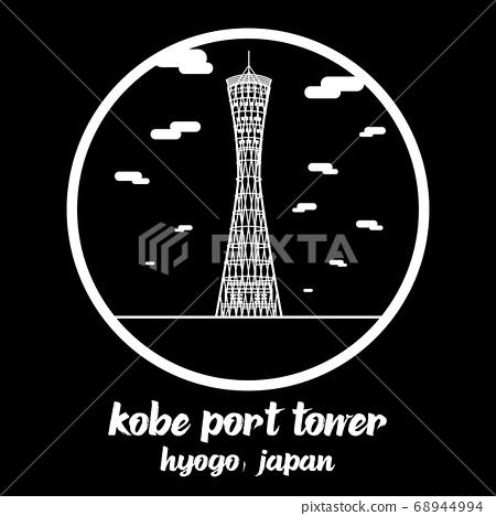 Circle icon line Kobe Port Tower. vector illustration 68944994