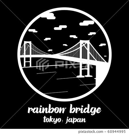 Circle icon Rainbow bridge. vector illustration 68944995