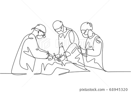 Single continuous single line drawing group of team surgeon doctor doing surgery operation to the patient with critical condition 68945320