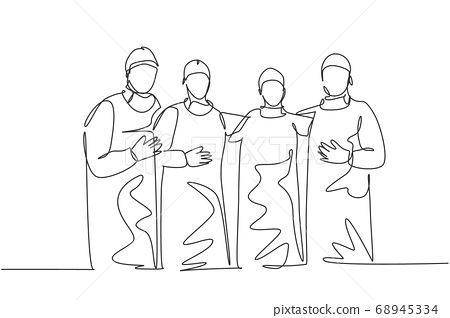 Single continuous single line drawing group of surgeon doctors standing and posing after do operating surgery at hospital 68945334