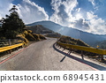 mountain of asphalt road in Hehuan mountain, Taiwan, Asia.  Taroko National Park is one of Taiwan's most popular tourist attractions. 68945431