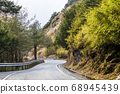 mountain of asphalt road in Hehuan mountain, Taiwan, Asia.  Taroko National Park is one of Taiwan's most popular tourist attractions. 68945439