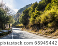 mountain of asphalt road in Hehuan mountain, Taiwan, Asia.  Taroko National Park is one of Taiwan's most popular tourist attractions. 68945442