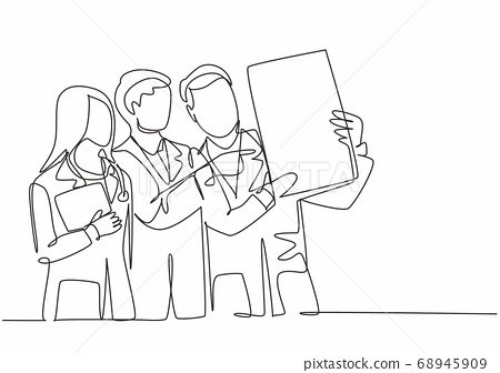 One single line drawing group of young doctor diagnosing patient illness while discussing his x-ray photo result 68945909