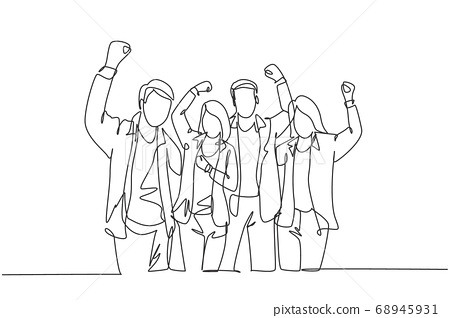 Single continuous line drawing of young happy company founder prancing with joy at the investor office together 68945931