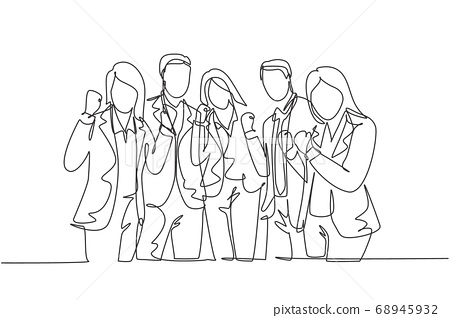 One continuous line drawing group of businessman and businesswoman line up neatly and fist hands together 68945932
