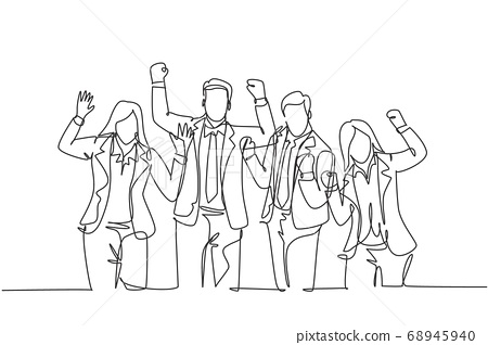 One continuous line drawing of young happy promoted man woman manager line up neatly on office meeting room together 68945940