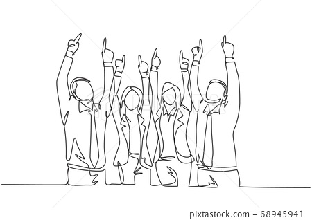 One single line drawing group of young happy male and female workers pointing and raise finger to the sky 68945941