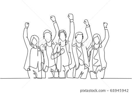 One continuous line drawing of young happy male and female worker raise their hands up to the sky together 68945942