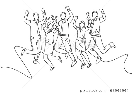 Single continuous line drawing of young happy male and female workers jumping after annual work meeting finish together 68945944