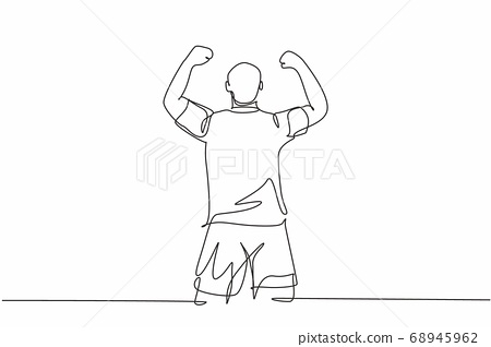 One continuous line drawing of sporty young soccer player raises his fist hands up to the sky emotionally on field 68945962