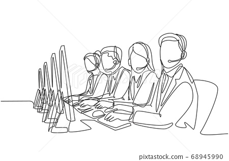 One single line drawing group of male and female customer service team members answer complaint phone call from clients kindly 68945990