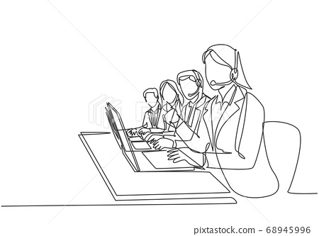 One continuous line drawing group of male and female call center team members answer complain phone call from clients kindly 68945996