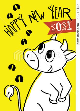 2021牛年新年賀卡白色 68946102