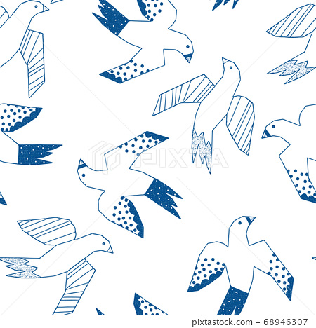 Flying birds blue on white seamless vector pattern. Repeating background with abstract collage style 68946307
